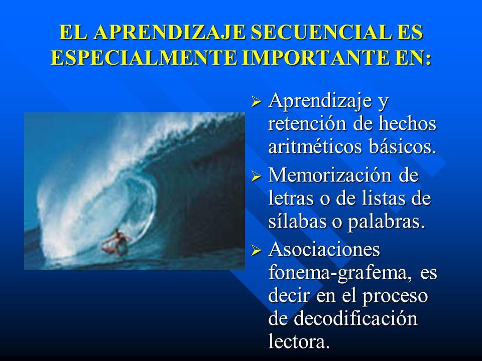 EL APRENDIZAJE SECUENCIAL ES ESPECIALMENTE IMPORTANTE EN: