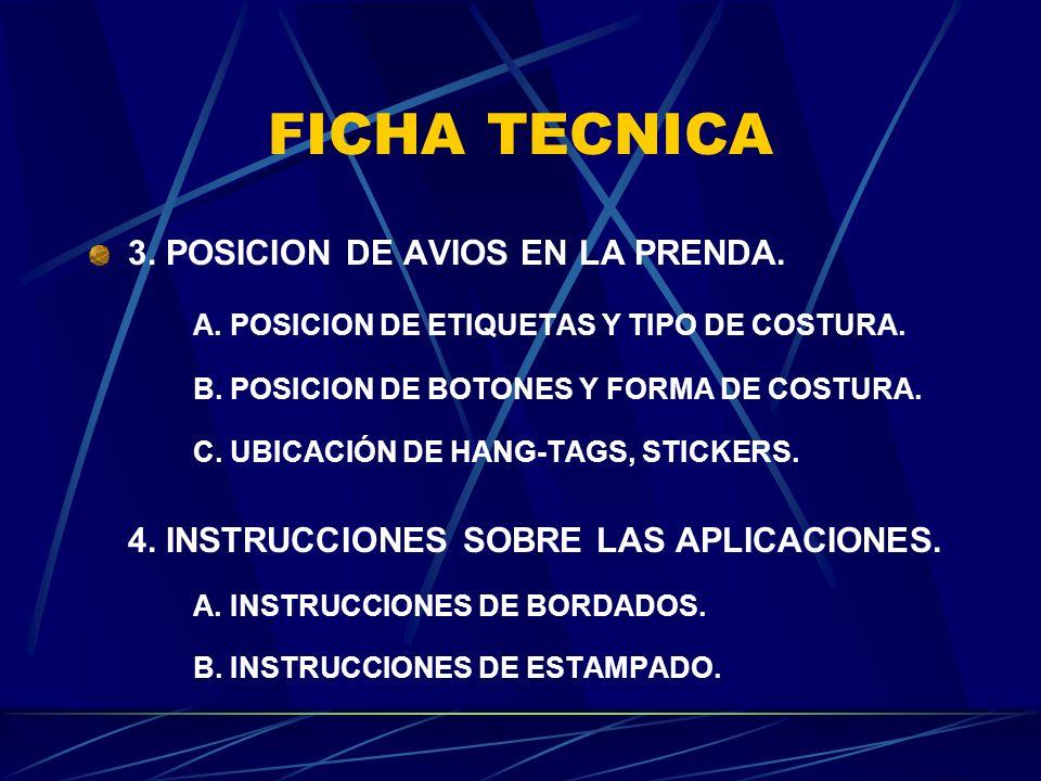FICHA TECNICA 3. POSICION DE AVIOS EN LA PRENDA.