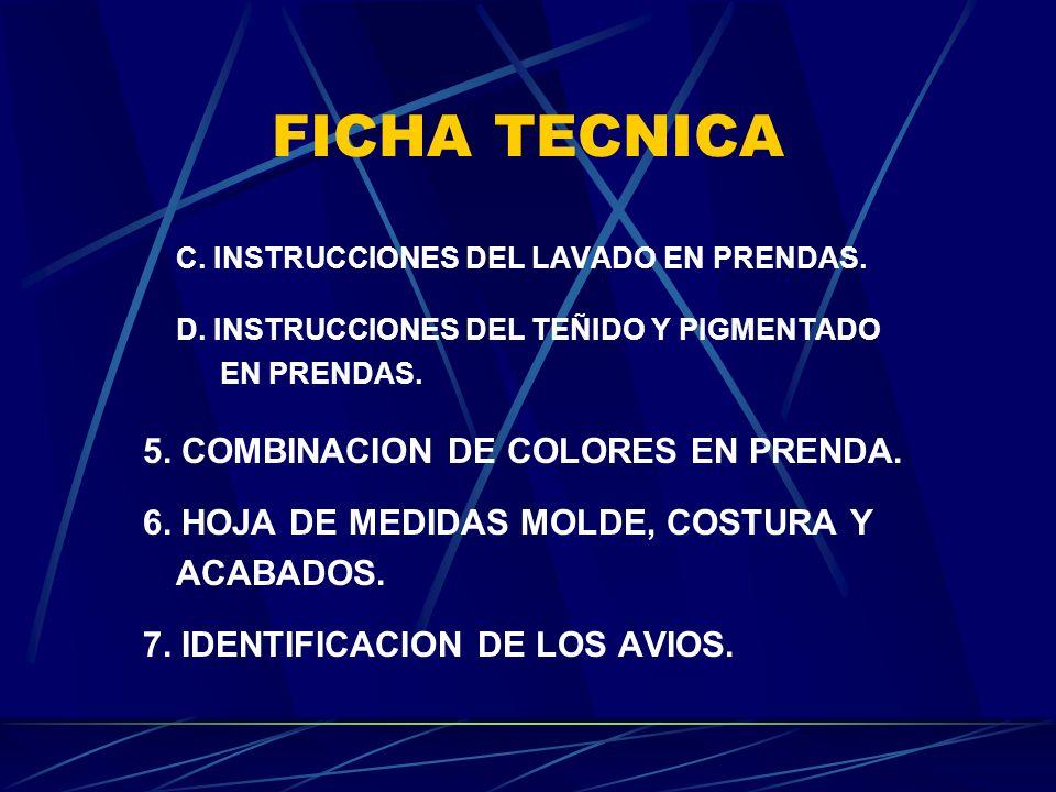 FICHA TECNICA C. INSTRUCCIONES DEL LAVADO EN PRENDAS.