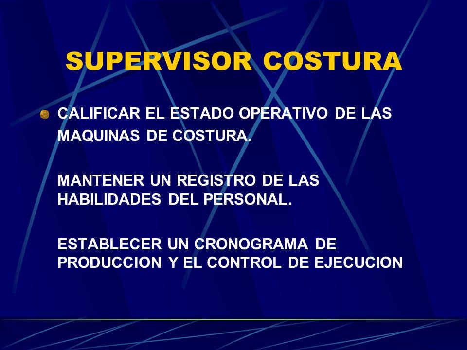 SUPERVISOR COSTURA CALIFICAR EL ESTADO OPERATIVO DE LAS