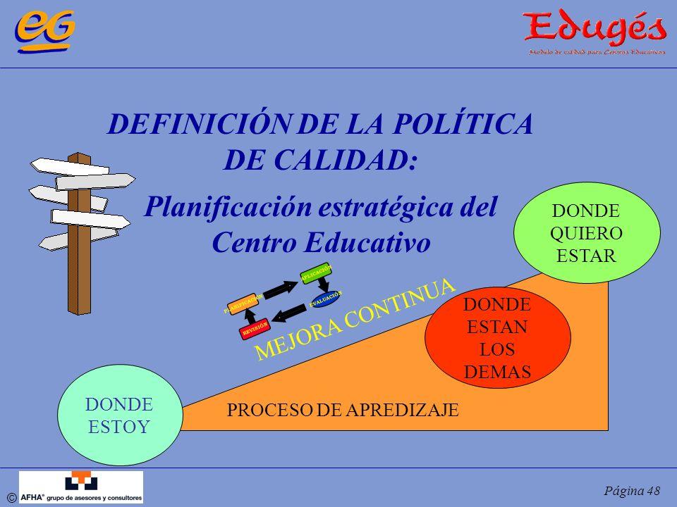 DEFINICIÓN DE LA POLÍTICA DE CALIDAD: Planificación estratégica del Centro Educativo