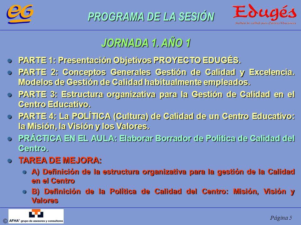 PROGRAMA DE LA SESIÓN JORNADA 1. AÑO 1