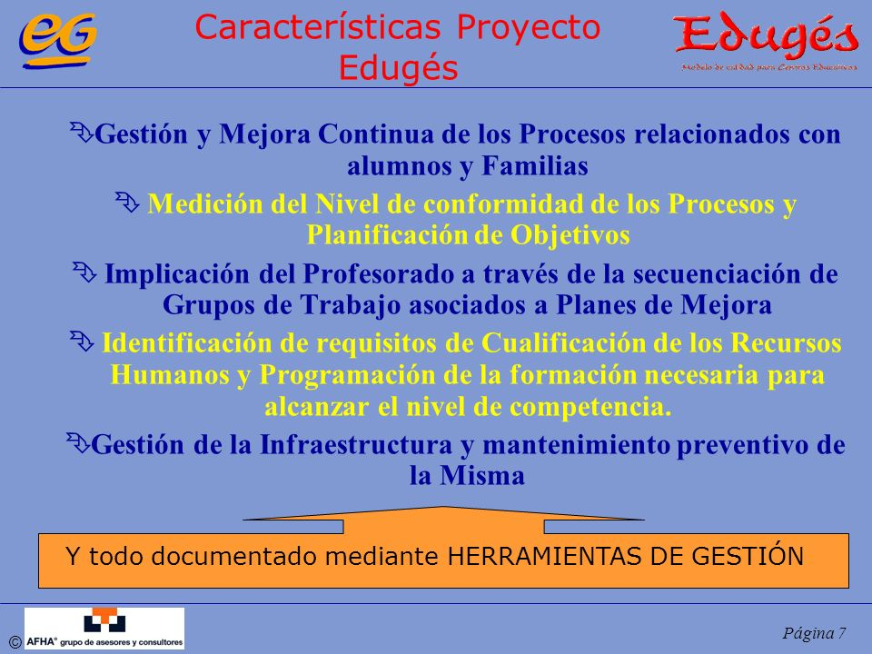 Características Proyecto Edugés