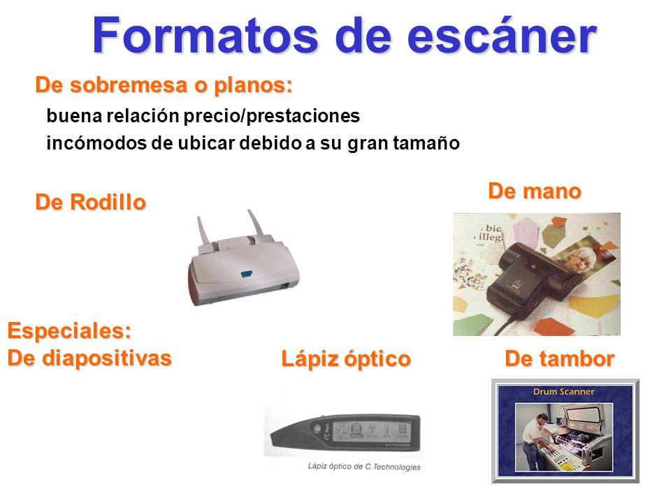 Formatos de escáner De sobremesa o planos: De mano De Rodillo