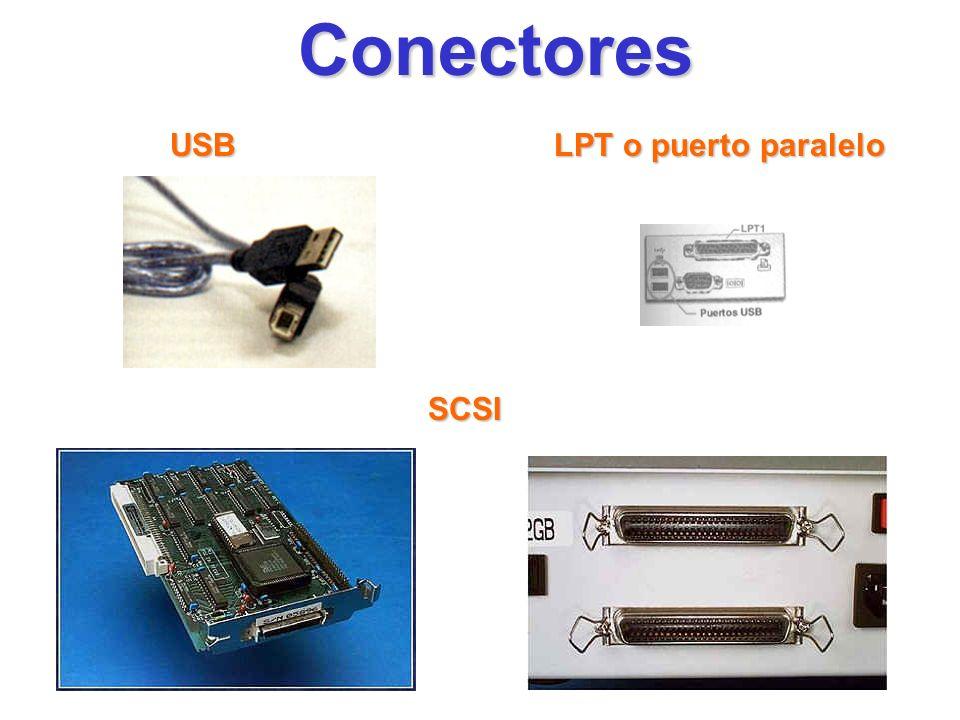 Conectores USB LPT o puerto paralelo SCSI