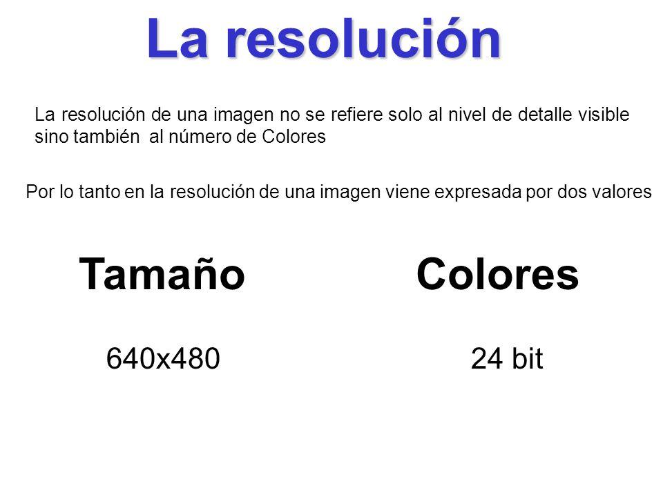 La resolución Tamaño Colores 640x480 24 bit