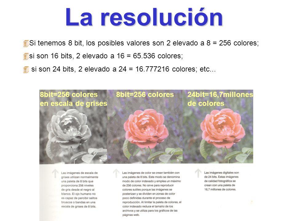 La resoluciónSi tenemos 8 bit, los posibles valores son 2 elevado a 8 = 256 colores; si son 16 bits, 2 elevado a 16 = 65.536 colores;
