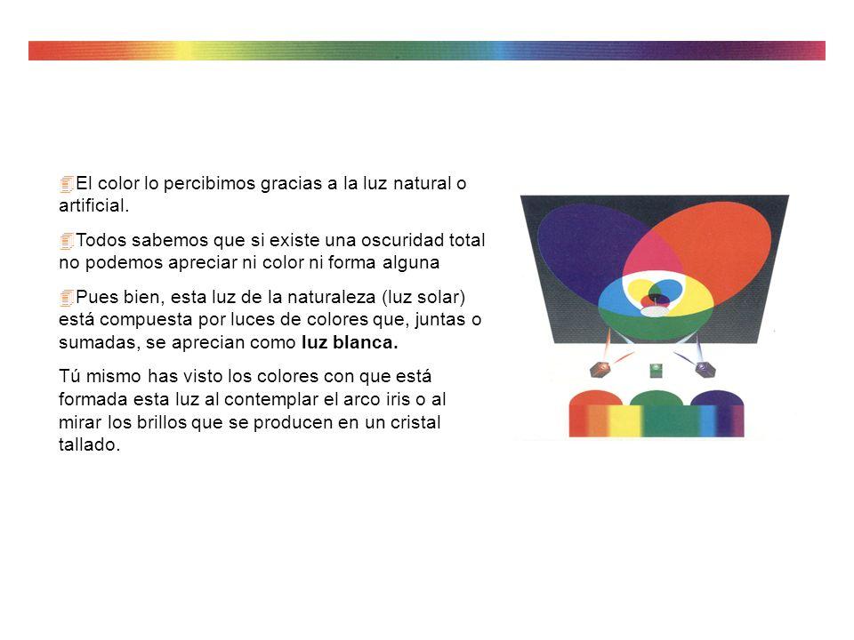 El color lo percibimos gracias a la luz natural o artificial.