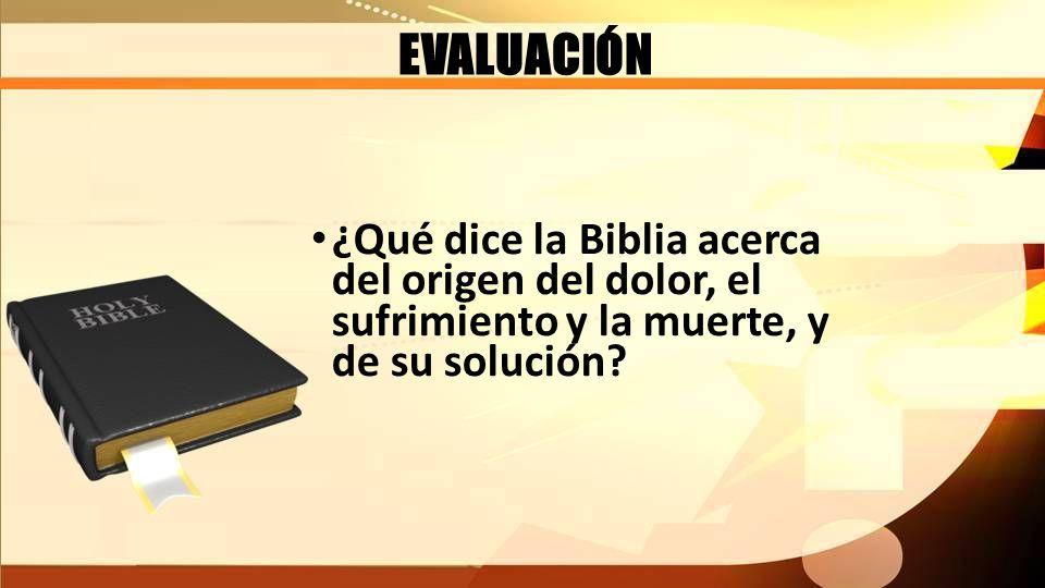 EVALUACIÓN ¿Qué dice la Biblia acerca del origen del dolor, el sufrimiento y la muerte, y de su solución