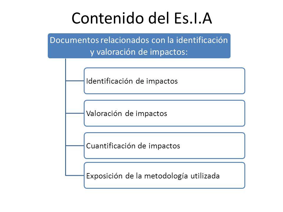 Contenido del Es.I.A Documentos relacionados con la identificación y valoración de impactos: Identificación de impactos.