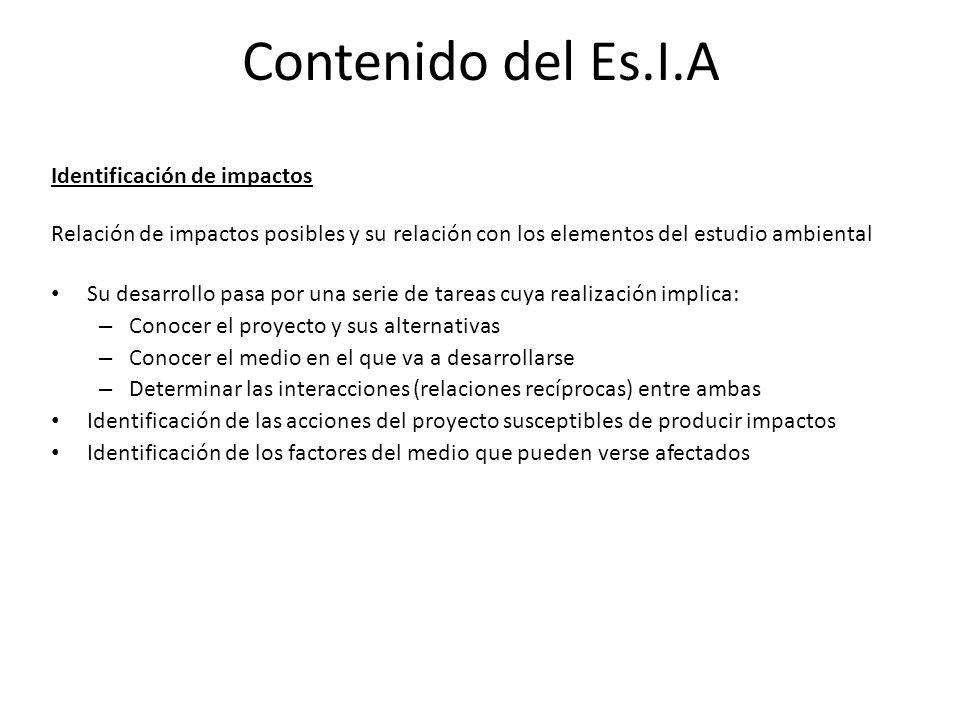 Contenido del Es.I.A Identificación de impactos