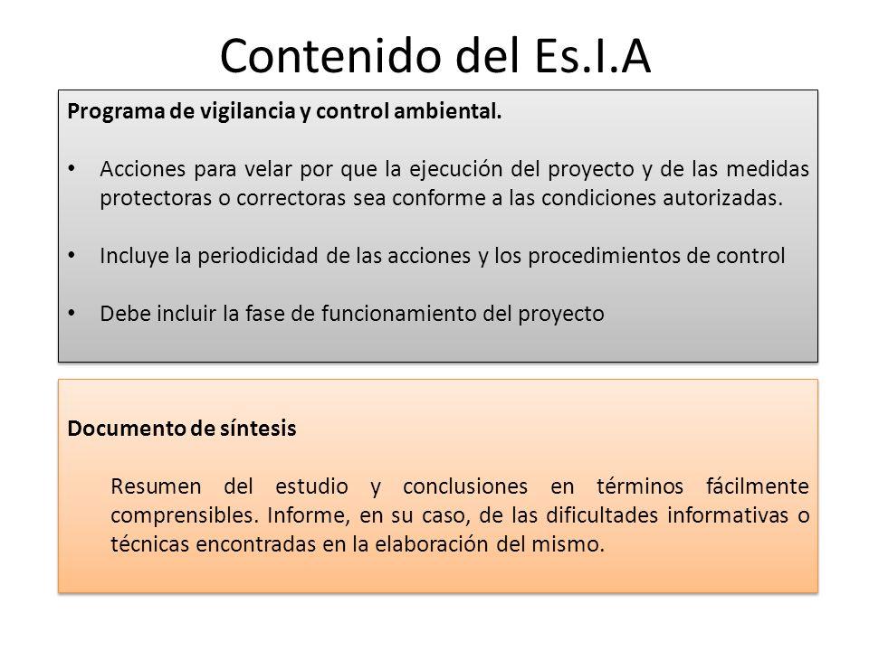 Contenido del Es.I.A Programa de vigilancia y control ambiental.