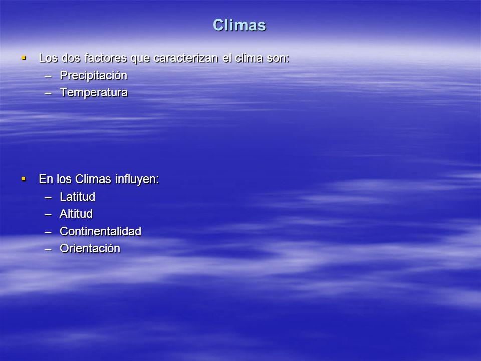 Climas Los dos factores que caracterizan el clima son: Precipitación
