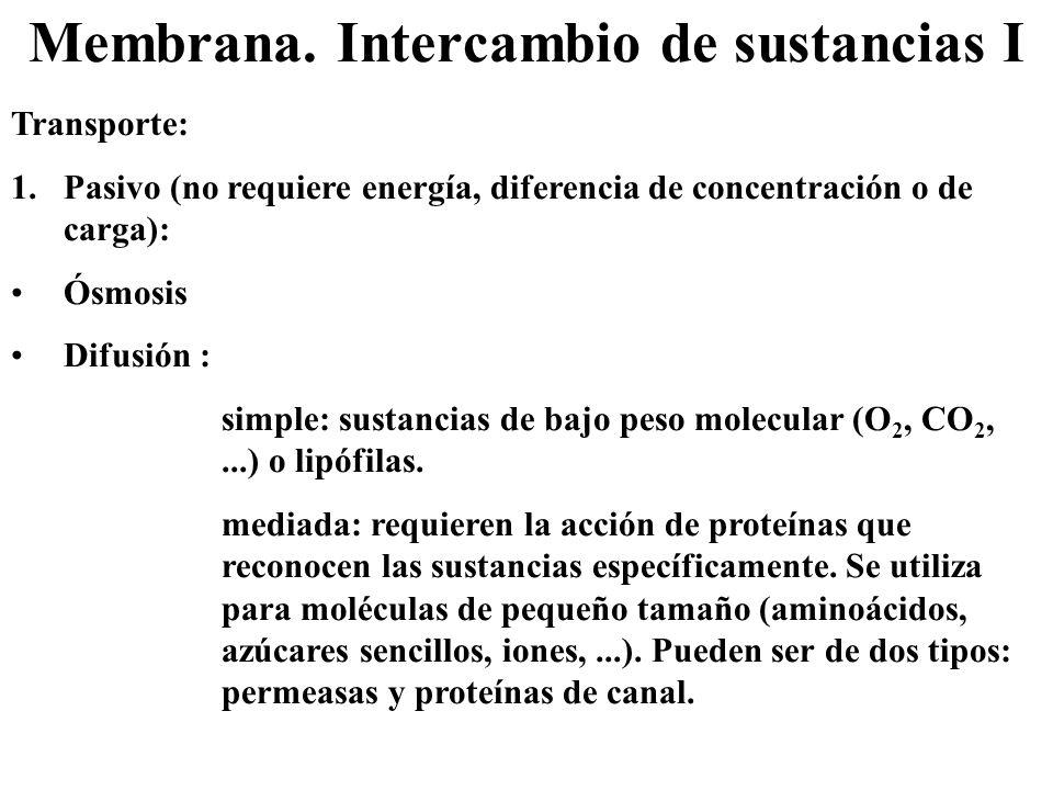 Membrana. Intercambio de sustancias I