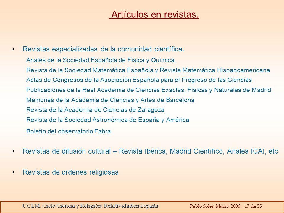 Artículos en revistas. Revistas especializadas de la comunidad científica. Anales de la Sociedad Española de Física y Química.