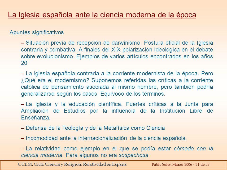 La Iglesia española ante la ciencia moderna de la época
