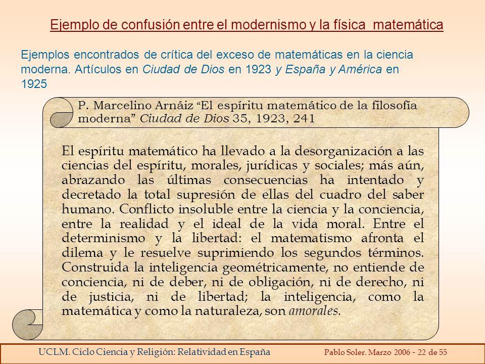 Ejemplo de confusión entre el modernismo y la física matemática