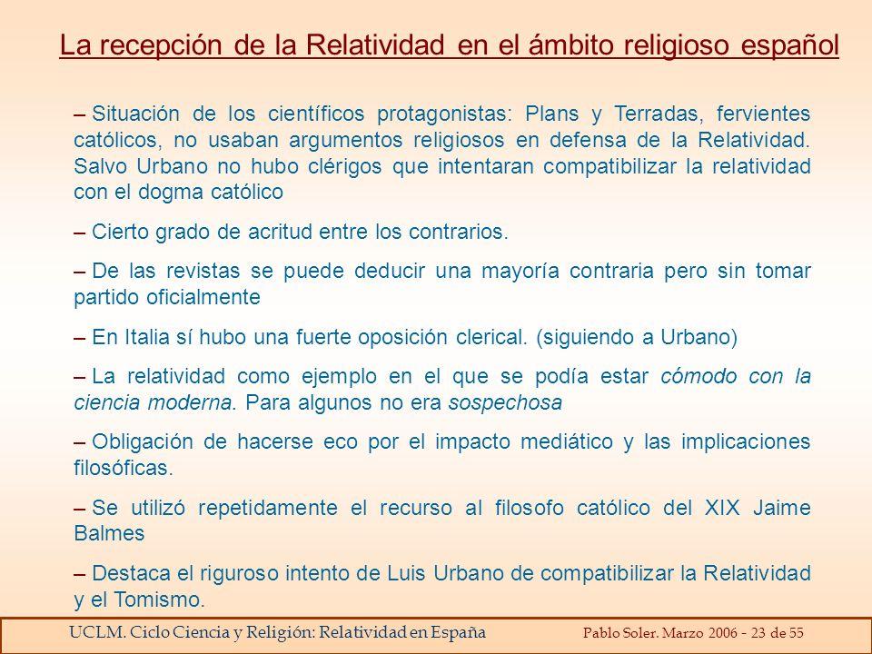 La recepción de la Relatividad en el ámbito religioso español
