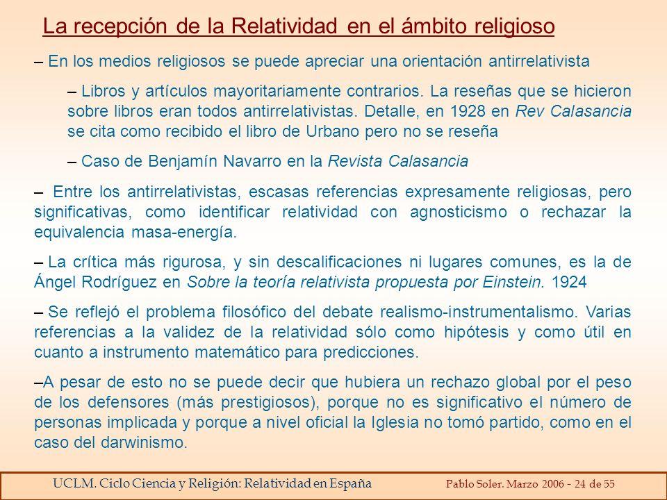 La recepción de la Relatividad en el ámbito religioso