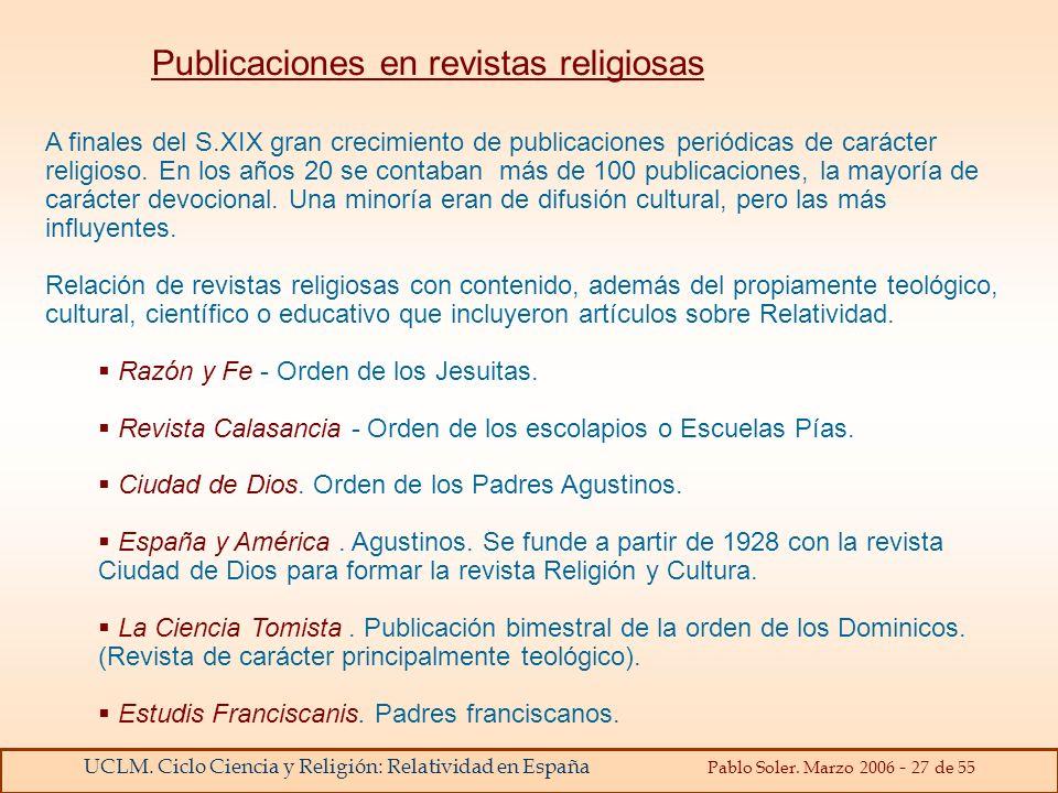 Publicaciones en revistas religiosas