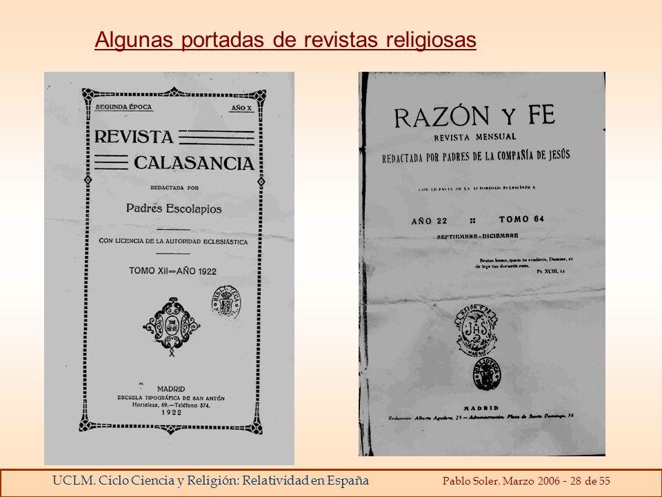 Algunas portadas de revistas religiosas