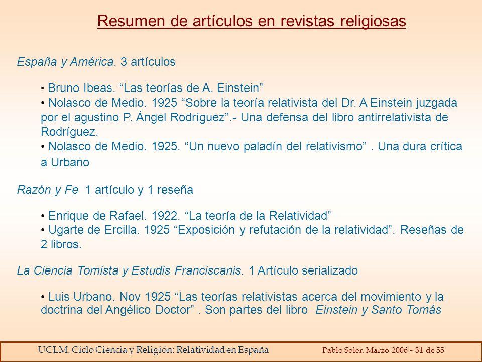 Resumen de artículos en revistas religiosas