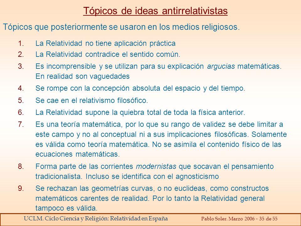 Tópicos de ideas antirrelativistas
