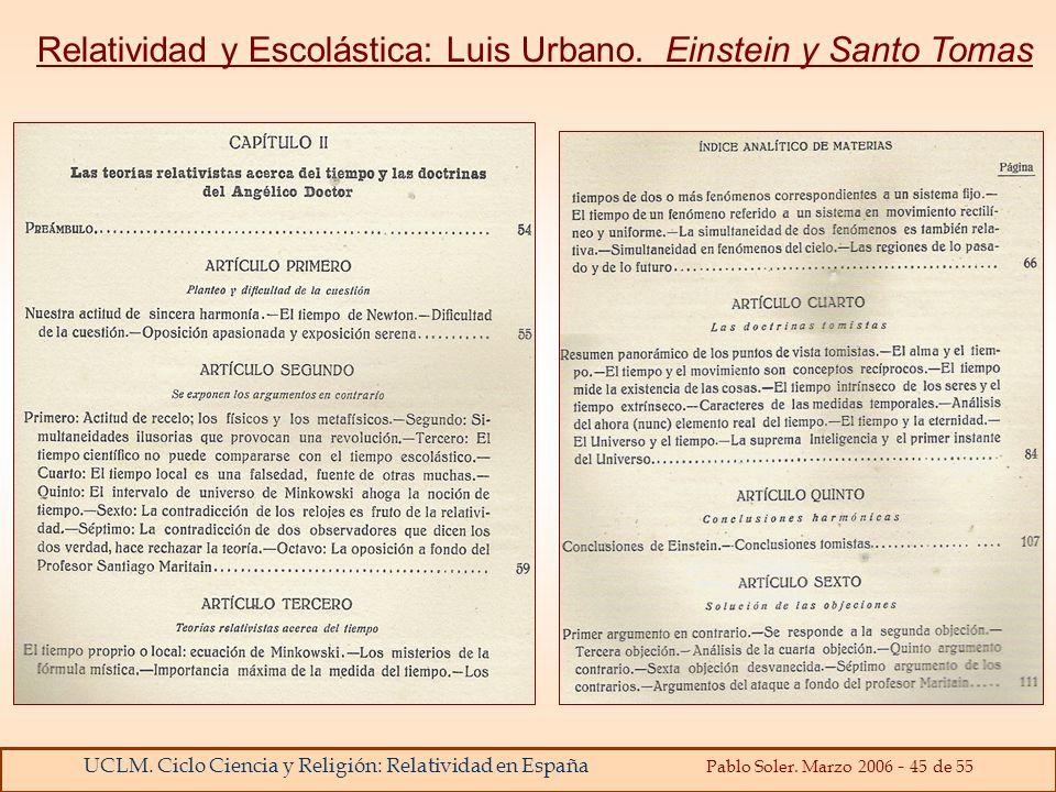Relatividad y Escolástica: Luis Urbano. Einstein y Santo Tomas