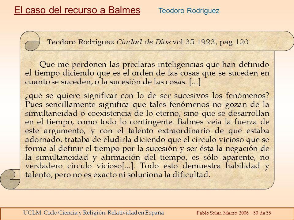 El caso del recurso a Balmes Teodoro Rodriguez