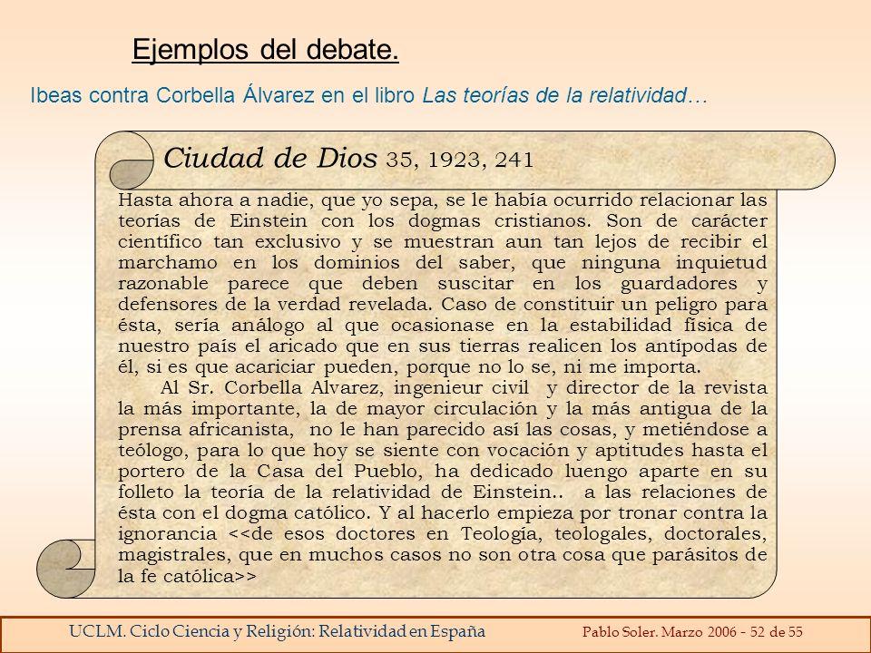 Ejemplos del debate. Ciudad de Dios 35, 1923, 241