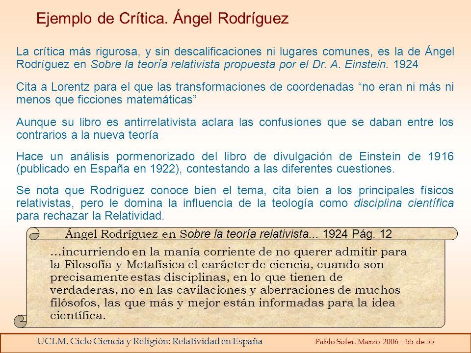 Ejemplo de Crítica. Ángel Rodríguez