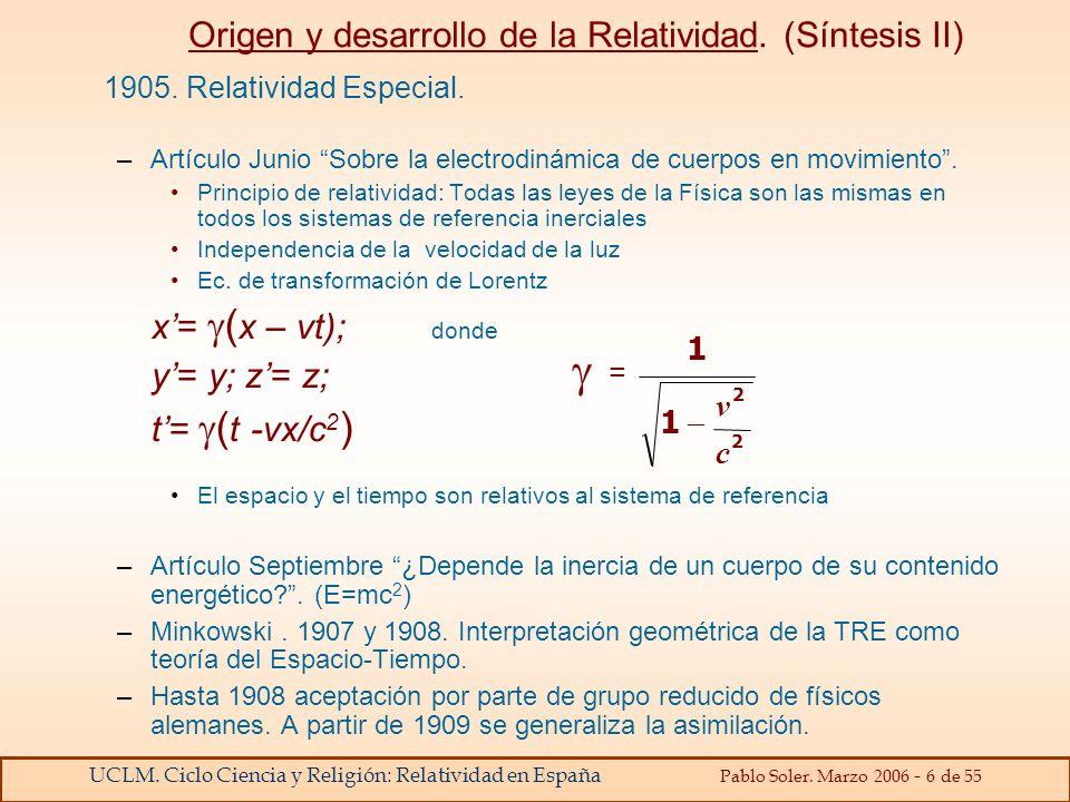 Origen y desarrollo de la Relatividad. (Síntesis II)