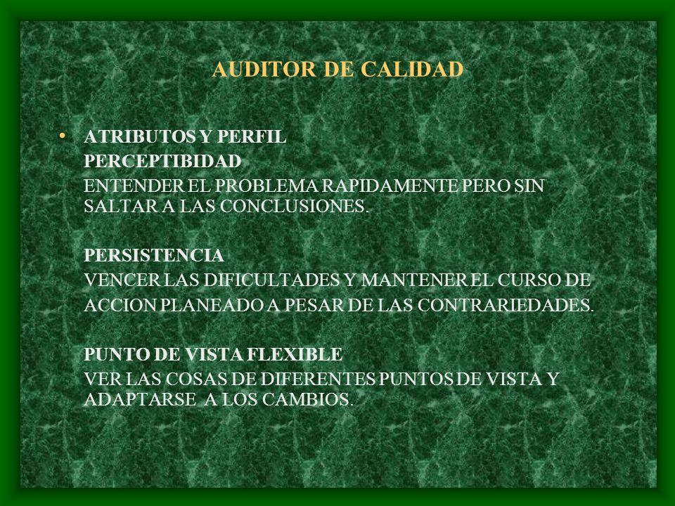 AUDITOR DE CALIDAD ATRIBUTOS Y PERFIL PERCEPTIBIDAD