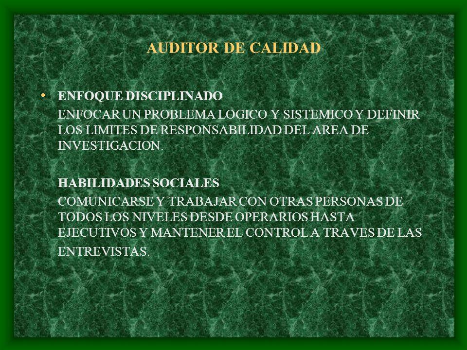 AUDITOR DE CALIDAD ENFOQUE DISCIPLINADO