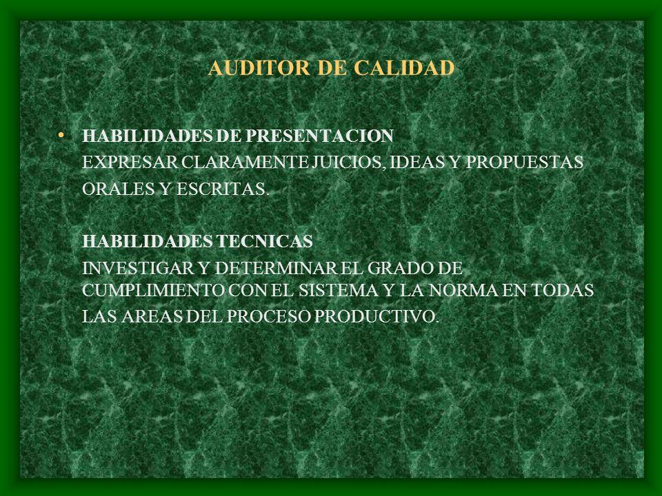 AUDITOR DE CALIDAD HABILIDADES DE PRESENTACION