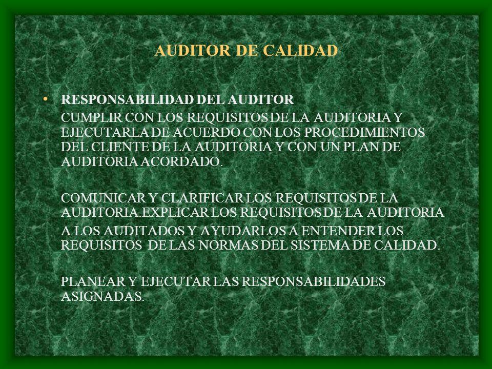 AUDITOR DE CALIDAD RESPONSABILIDAD DEL AUDITOR