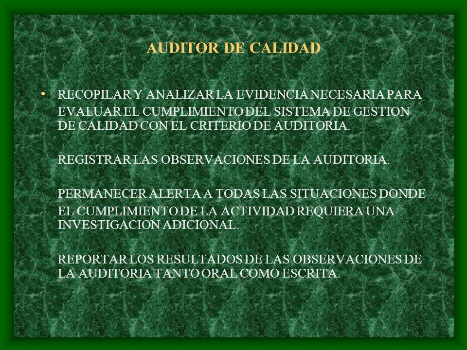AUDITOR DE CALIDAD RECOPILAR Y ANALIZAR LA EVIDENCIA NECESARIA PARA