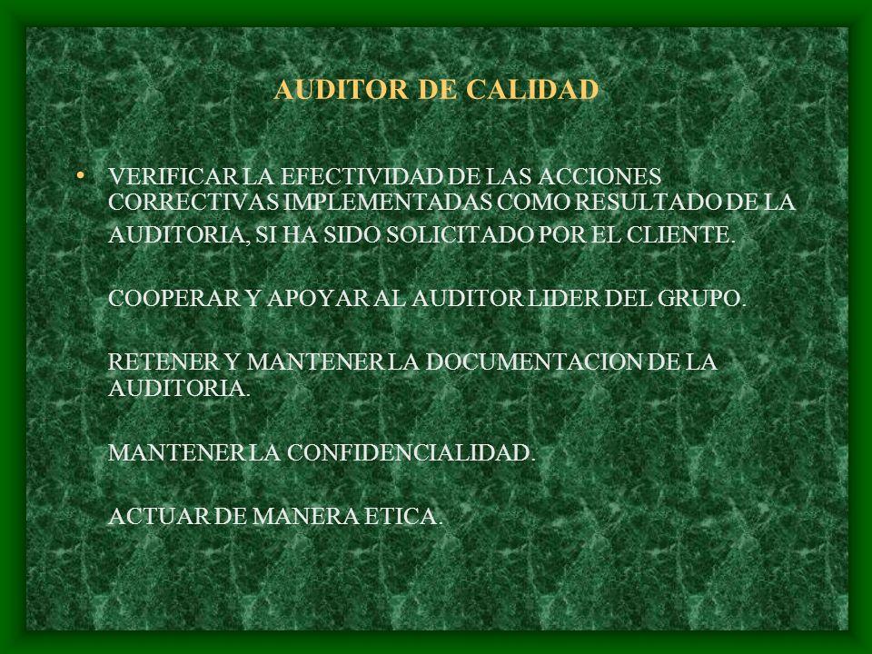 AUDITOR DE CALIDAD VERIFICAR LA EFECTIVIDAD DE LAS ACCIONES CORRECTIVAS IMPLEMENTADAS COMO RESULTADO DE LA.