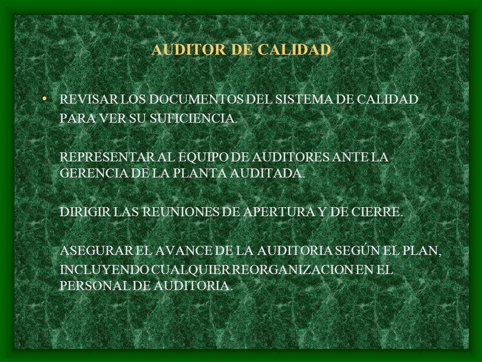 AUDITOR DE CALIDAD REVISAR LOS DOCUMENTOS DEL SISTEMA DE CALIDAD