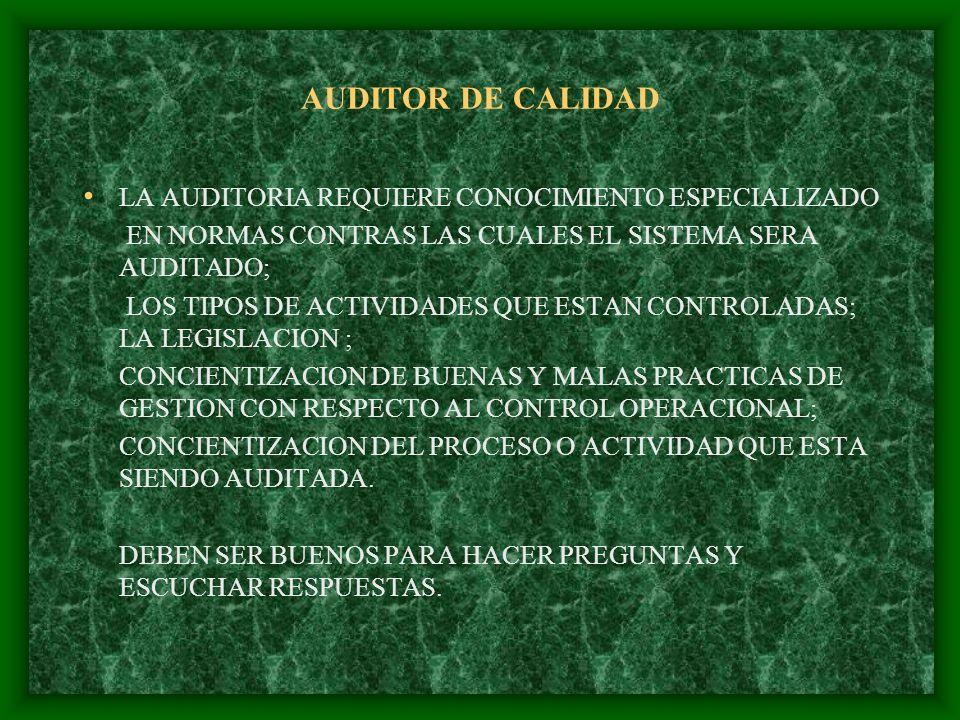 AUDITOR DE CALIDAD LA AUDITORIA REQUIERE CONOCIMIENTO ESPECIALIZADO