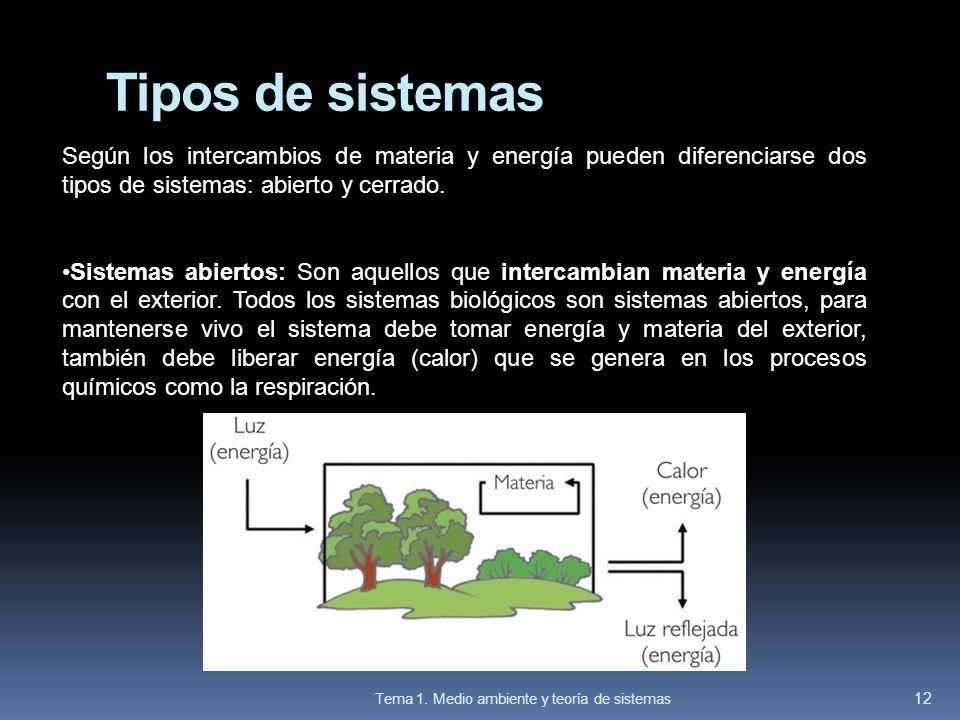 Tipos de sistemas Según los intercambios de materia y energía pueden diferenciarse dos tipos de sistemas: abierto y cerrado.