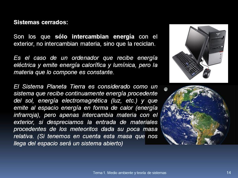 Sistemas cerrados: Son los que sólo intercambian energía con el exterior, no intercambian materia, sino que la reciclan.