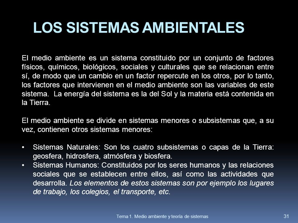 LOS SISTEMAS AMBIENTALES