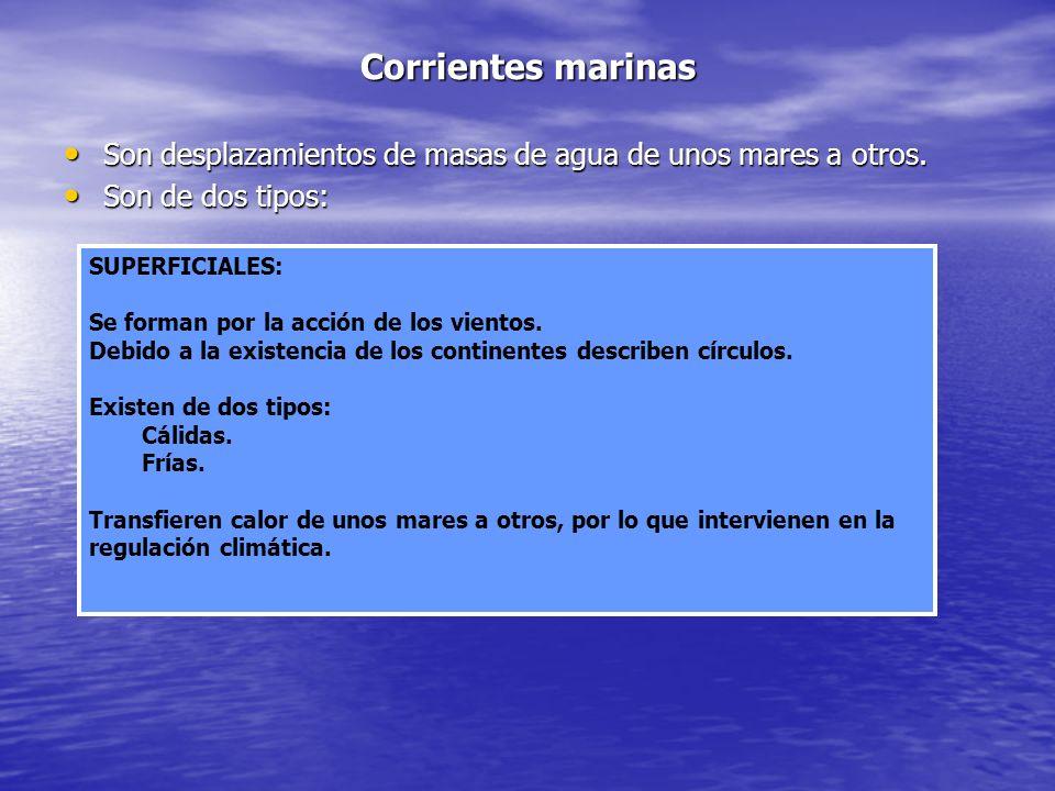 Corrientes marinas Son desplazamientos de masas de agua de unos mares a otros. Son de dos tipos: SUPERFICIALES: