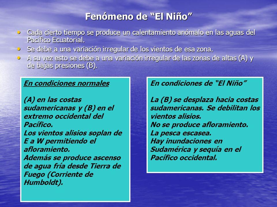 Fenómeno de El Niño Cada cierto tiempo se produce un calentamiento anómalo en las aguas del Pacífico Ecuatorial.
