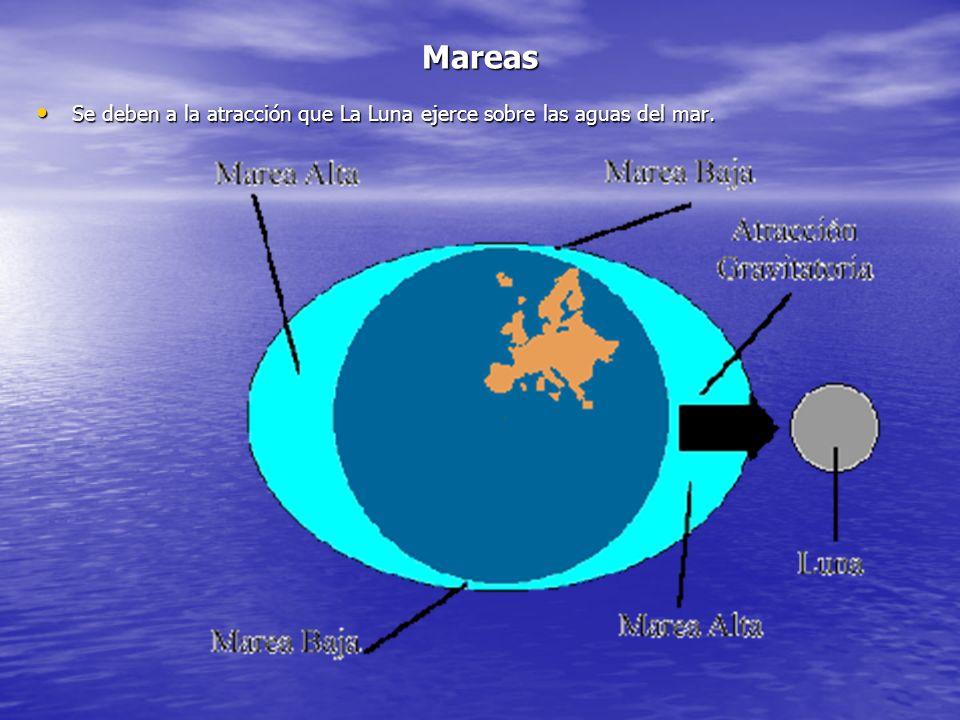 Mareas Se deben a la atracción que La Luna ejerce sobre las aguas del mar.