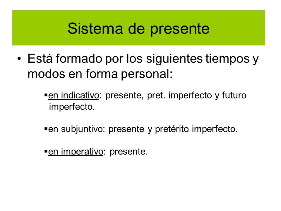 Sistema de presenteEstá formado por los siguientes tiempos y modos en forma personal: en indicativo: presente, pret. imperfecto y futuro.