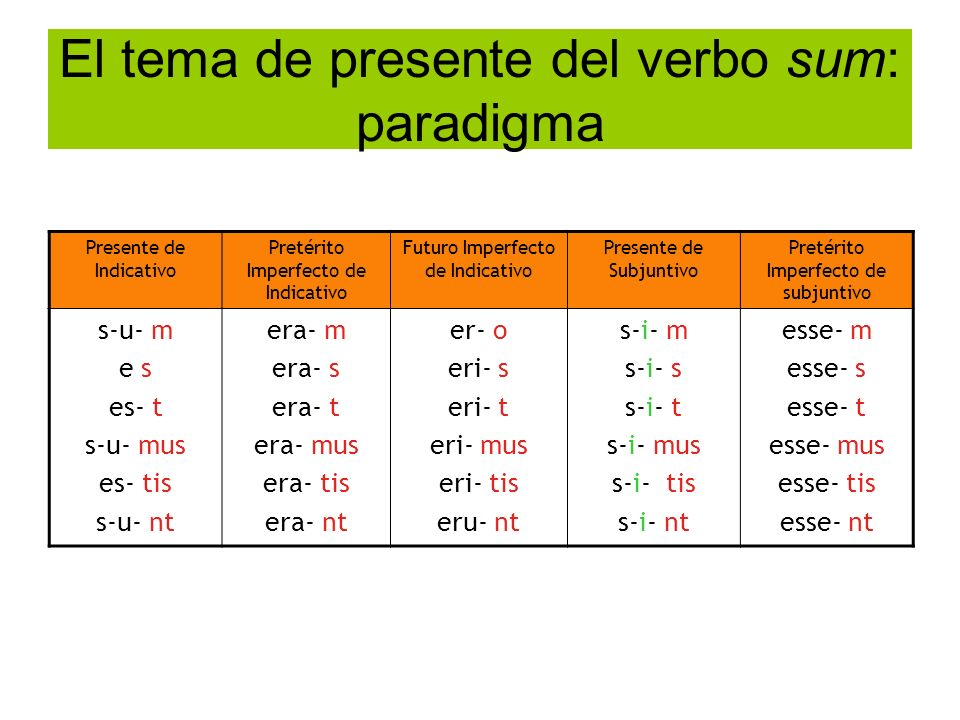El tema de presente del verbo sum: paradigma