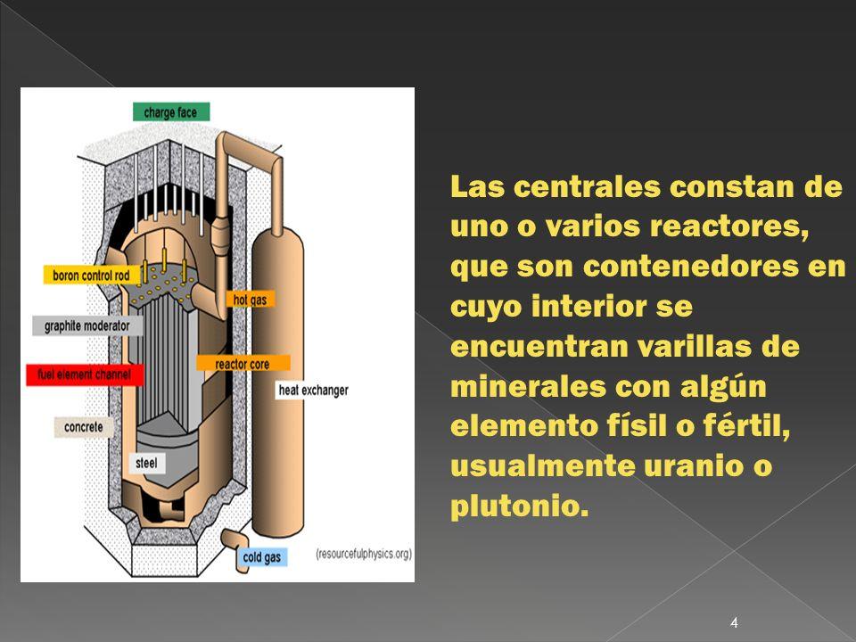 Las centrales constan de uno o varios reactores, que son contenedores en cuyo interior se encuentran varillas de minerales con algún elemento físil o fértil, usualmente uranio o plutonio.