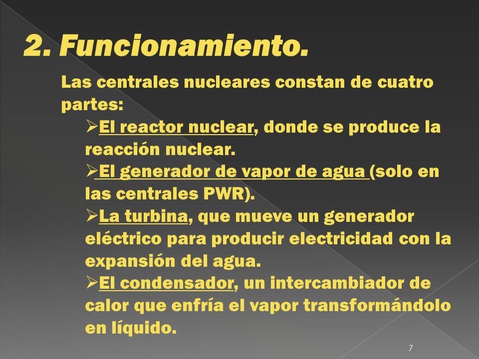 2. Funcionamiento. Las centrales nucleares constan de cuatro partes: